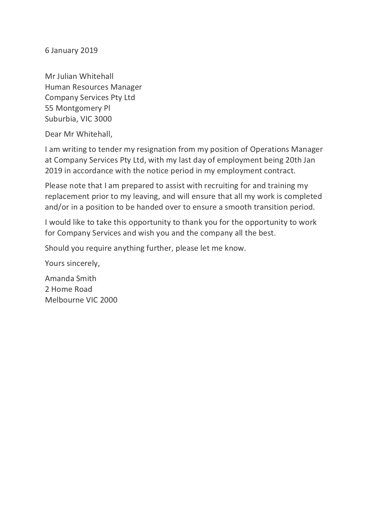 Resignation Letter Templates How to Resign in 30   Training.com.au